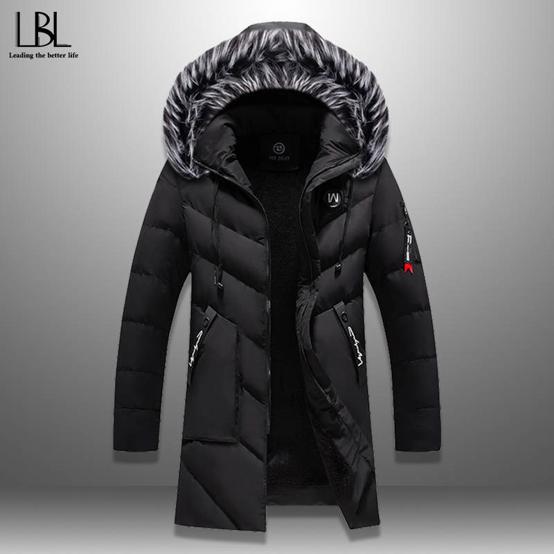 Jacket Coat Padded Parka Fur-Collar Winter Long Windproof Warm Thick Men's Fashion Solid title=