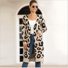 Women's cardigan 2020 new spring and autumn winter popular women's knitting camouflage leopard long cardigan