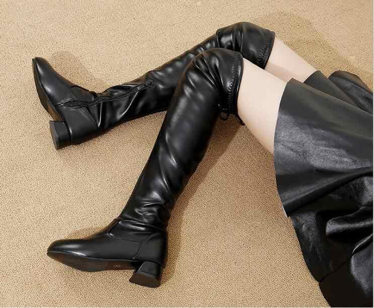 ฤดูหนาวใหม่รองเท้าผู้หญิงเข่าสูงรองเท้าบูทรอบ Toe ลงขนสุภาพสตรีแฟชั่นต้นขาหิมะรองเท้ากันน้ำ botas