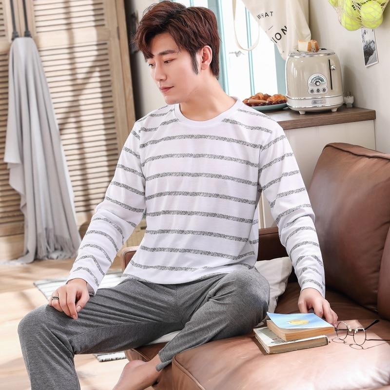 2019 Spring Casual Striped Cotton Pajama Sets For Men Long Sleeve Sleepwear Male Lounge Wear O-neck Pyjama Homewear Home Clothes