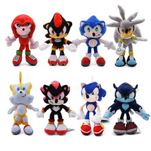 10 Styles Sonic Toys 19-31cm Sonic Shadow Amy Rose Knuckles Tails Plush Toys Soft Stuffed Peluche Dolls Gift For Kids' Christmas