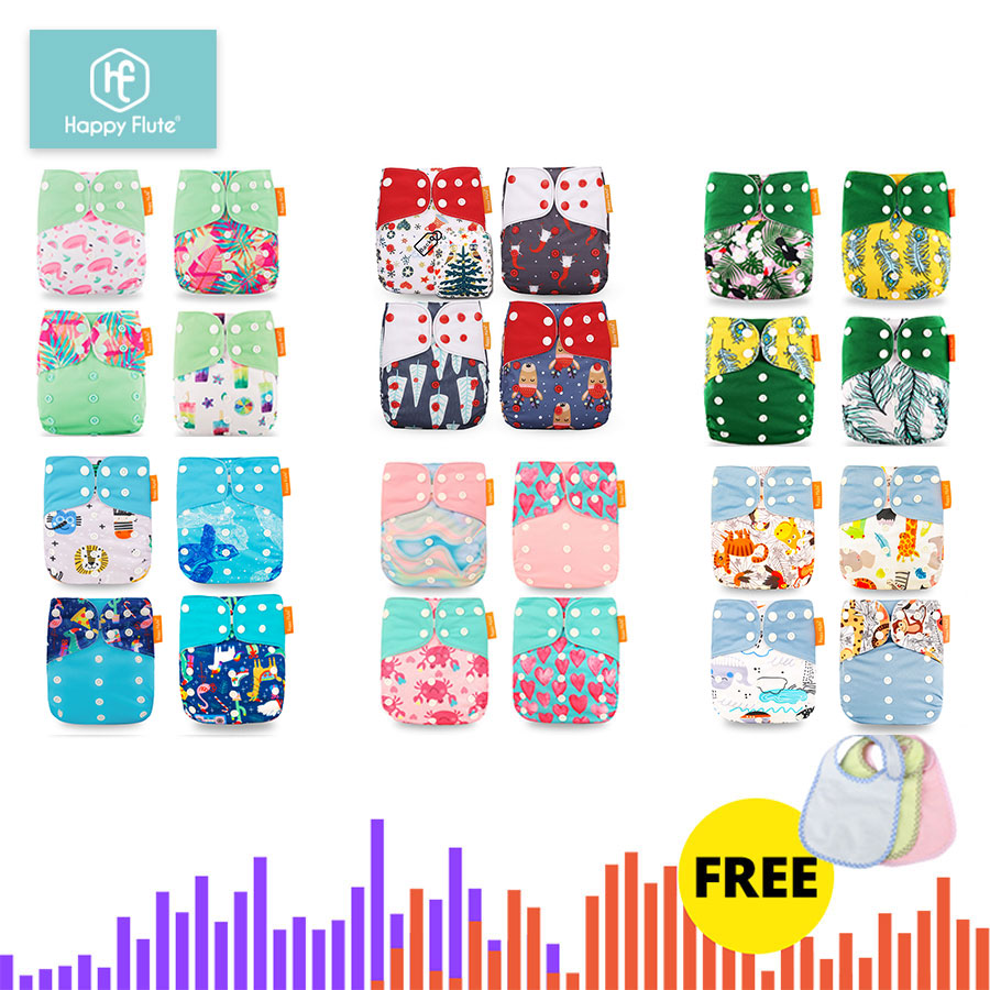 HappyFlute 24 Diapers+24 Inserts Baby Cloth Diapers One Size Adjustable Washable Reusable Cloth Nappy For Baby Girls And Boys