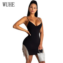 WUHE Black Fashionable Sexy Mini Spaghetti Strap Sleeveless Tassel Dress Elegant Hollow Out Bodycon Femme Party Fringed Dresses