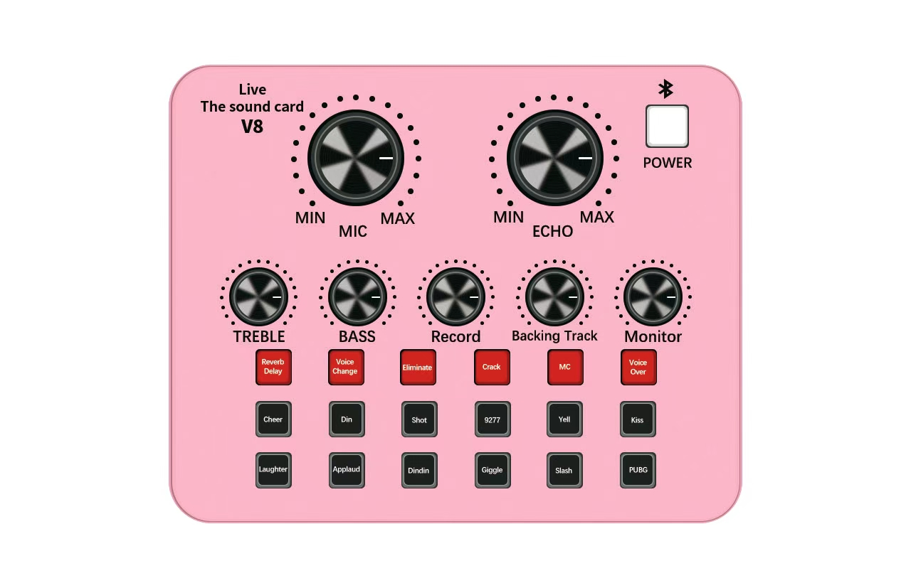 New live sound card online live video entertainment for PC mobile phone Android OS external sound card V8 Blue Pink 3