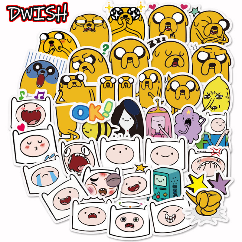 10/30/40pcs Animal Adventure Time Waterproof Stickers Girl Skateboard Guitar Suitcase Cute Scrapbooking Graffiti Sticker Kid Toy