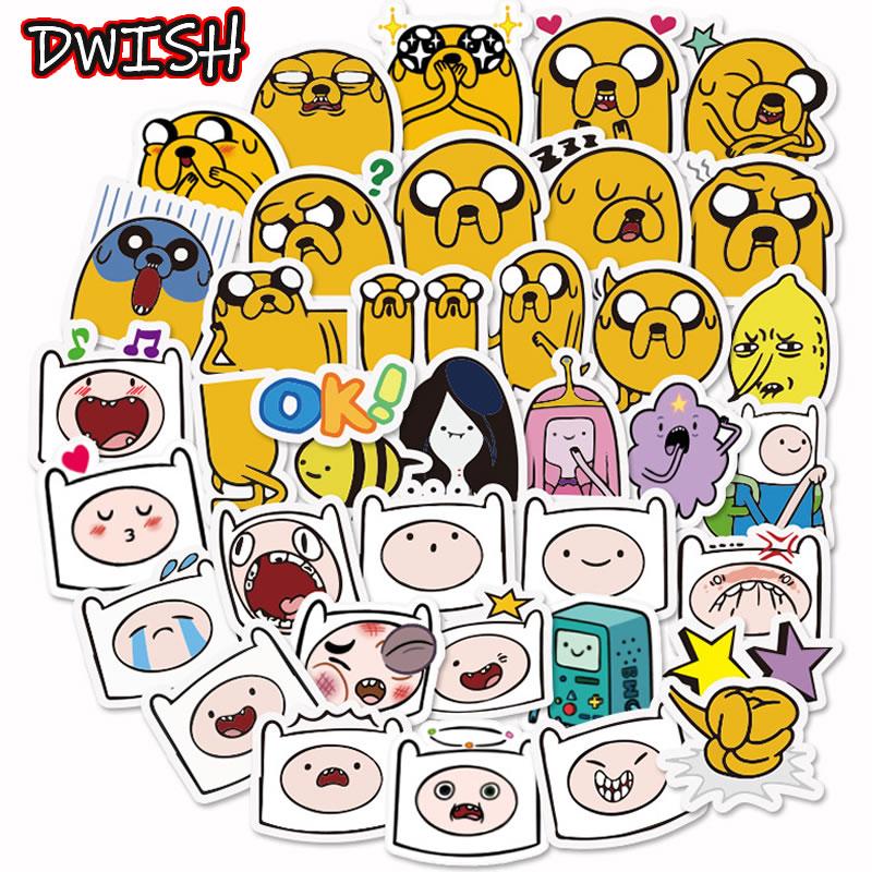 10/30/40pcs Animal Adventure Time Waterproof Stickers Girl Skateboard Guitar Suitcase Cute Scrapbooking Graffiti Sticker Kid Toy