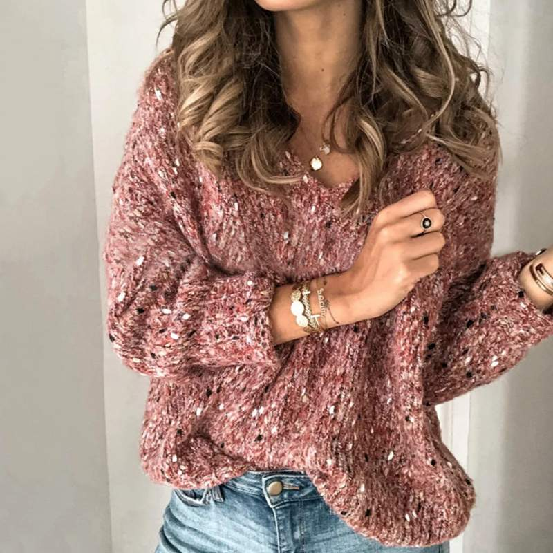 Women Winter Sweater Fashion Autumn Long Sleeve Sweater Knitted Pullovers Casual Solid Knitwear Pull Femme V Neck Jumper