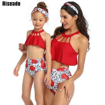 Riseado Halter Brazilian Bikinis 2020 Mother and Daughter Swimsuit Women Flower Print Swimwear High Waist Summer Beachwear