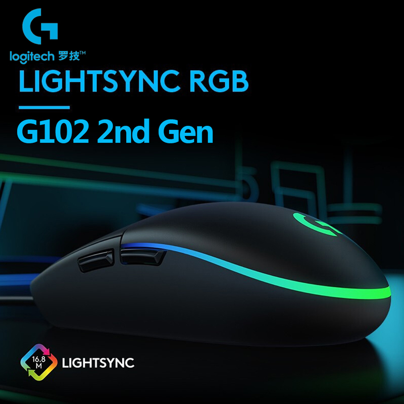 Logitech G102 LIGHTSYNC Gaming Mouse RGB Backlight 6 Buttons 8000 DPI USB Wired G102 2Gen Optical Mouse Gamer Mice For PC Laptop|Mice|   - AliExpress