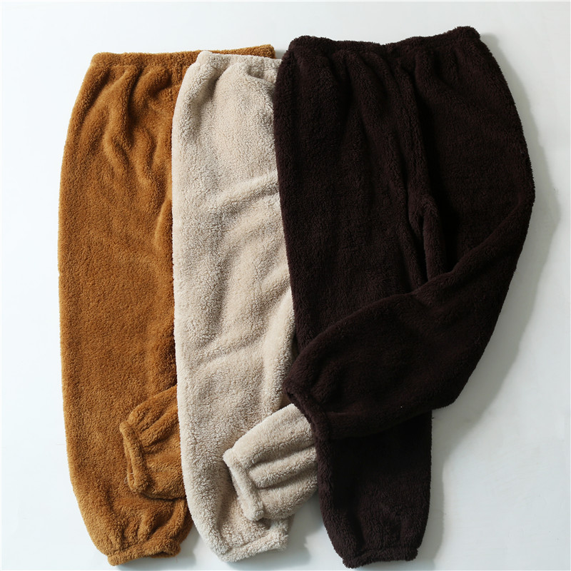 New Winter Flannel Mens Sleep Bottoms Thicken Warm Sweatpants Mens Pajamas Pants Comfort Slacks Pijamas Couple Casua Trousers