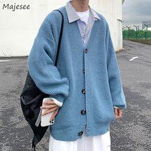 Los hombres chaqueta otoño prendas de vestir Tops suéteres de punto sólido suelto pijo Casual estilo coreano de moda Ulzzang diario todo-encuentro