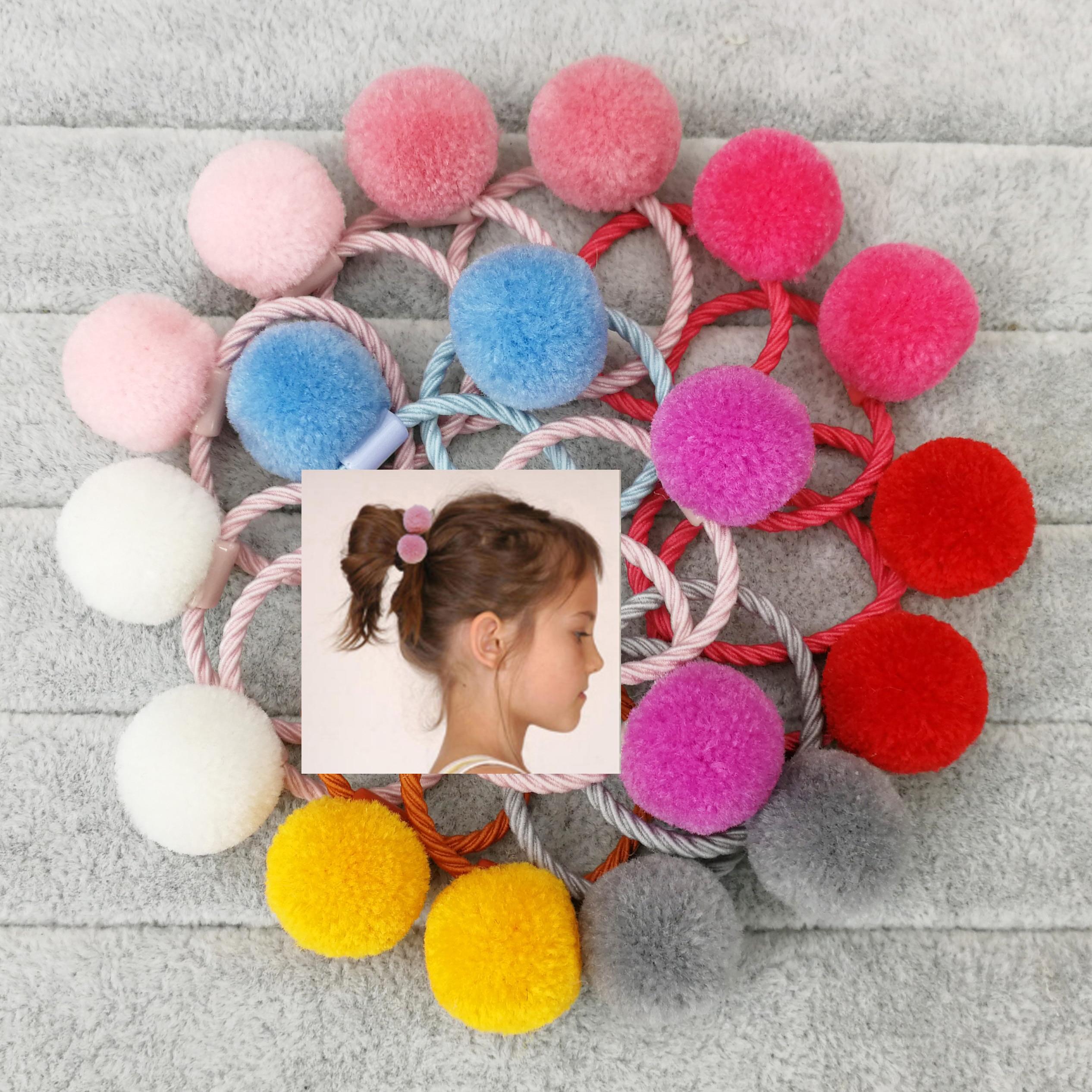 Милые резинки для волос с двумя меховыми помпонами, 18 шт., эластичные резинки для волос для маленьких девочек, ручная работа, меховые шарики, ...