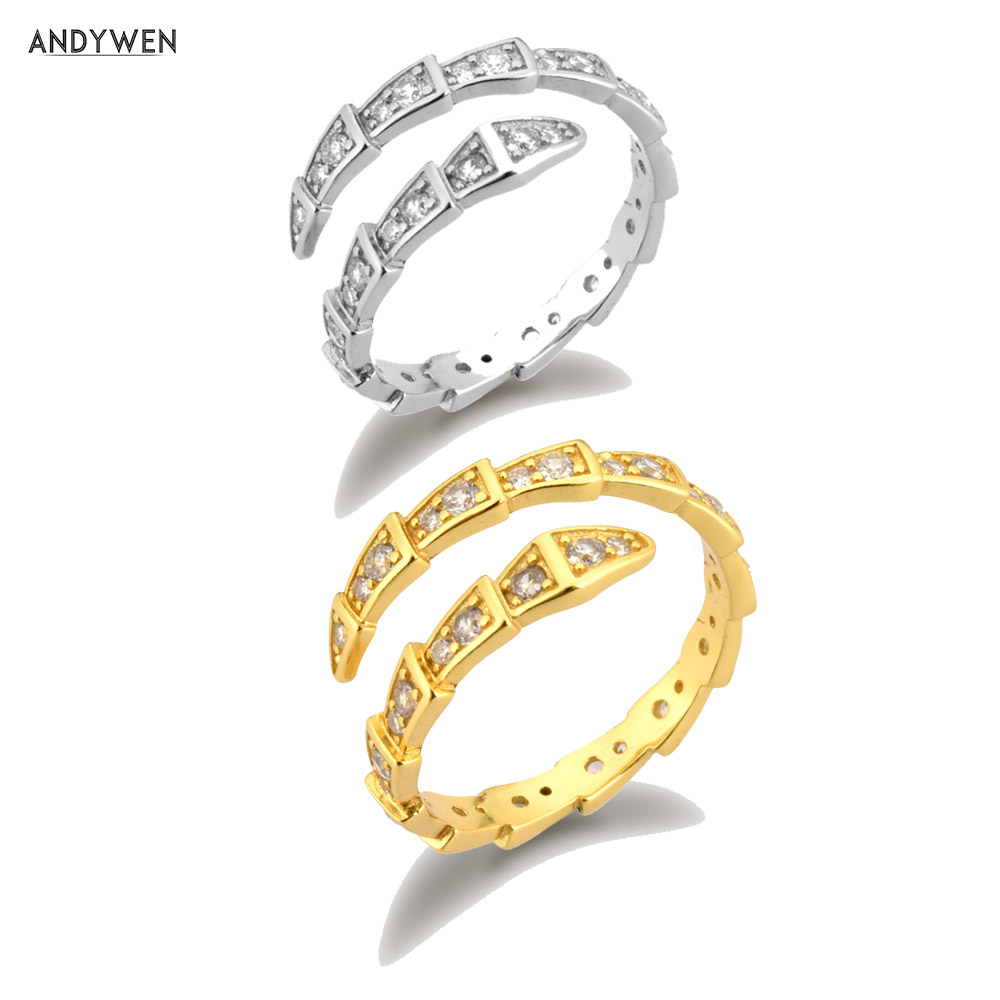 ANDYWEN 925 Sterling Silver Gold Stage Zircon Pave Snake Resizable Ring 2020 Rock Punk Fashion Fine Jewelry For European Women