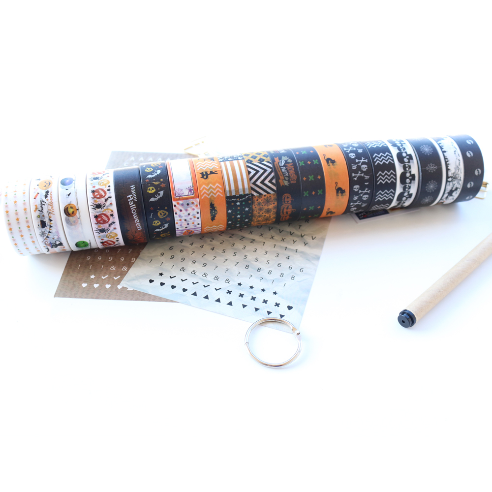 Domikee Classic Cartoon Halloween Series School Student Decorative Washi Tape Stationery,fine Paper Tape For Handmade,15mm*10m