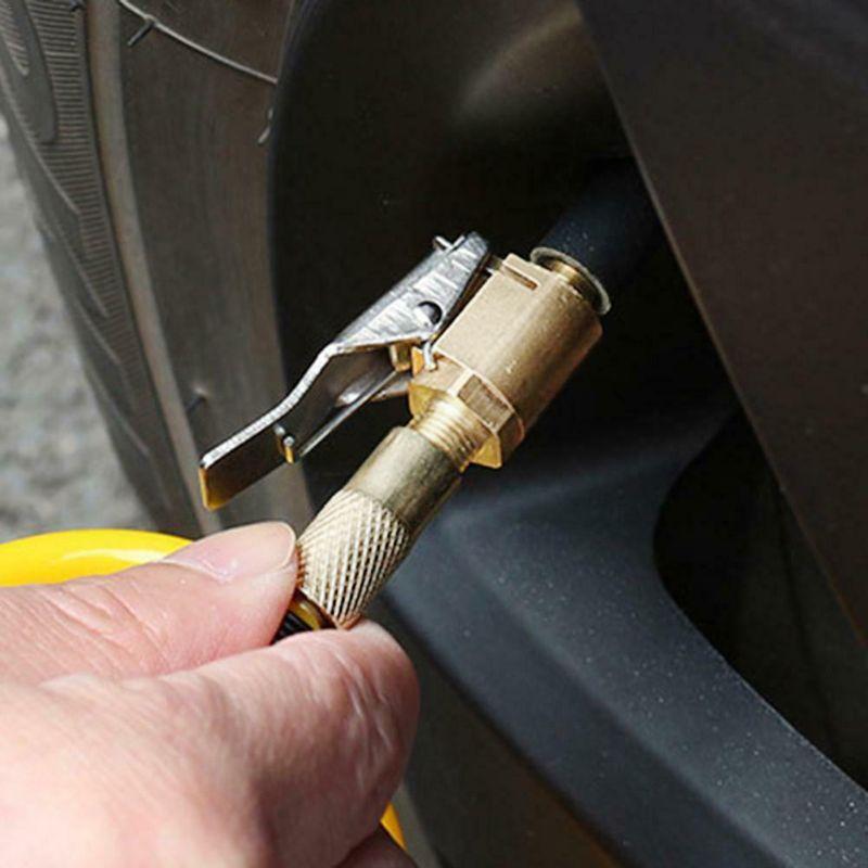 Car Truck Metal Tyre Tire Inflator Valve Air Pump Charging Clip Nozzle Chuck D08F
