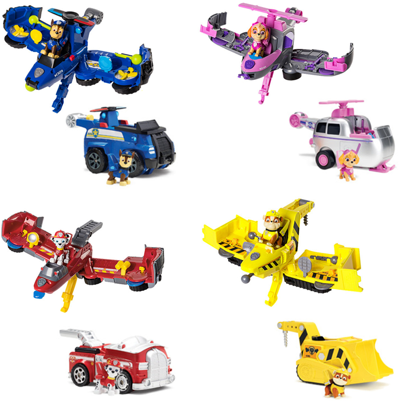 Paw Patrol Two In One Deformation Series Toys Aircraft Toys Car Sound And Light Music Set Action Figures Toys For Children Gifts