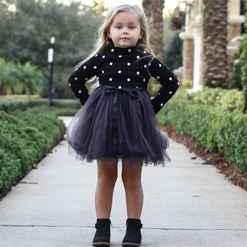 Vêtements à manches longues pour bébés filles, tenue princesse tutu, pour anniversaires, à pois, pour enfants de 1 à 5 ans