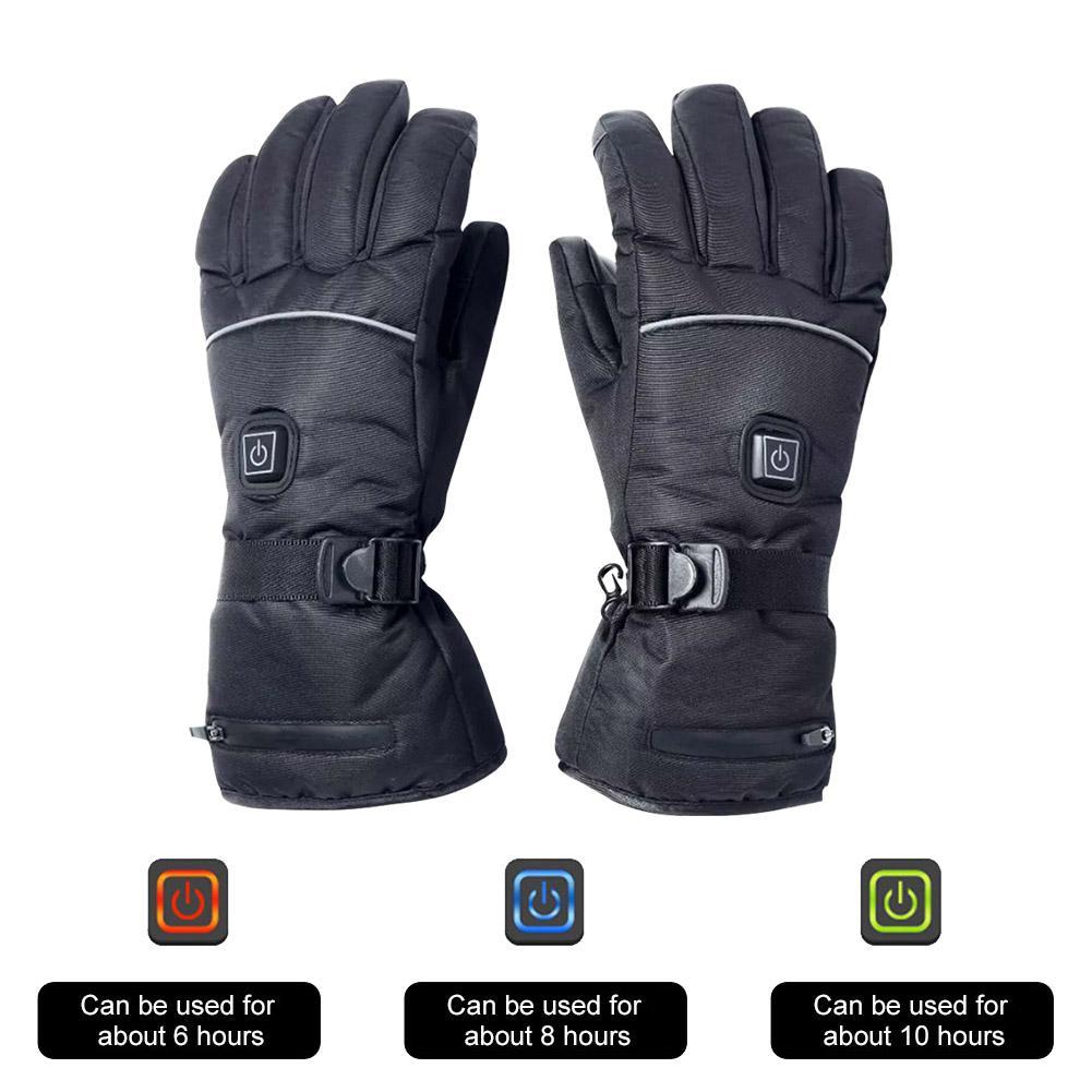 Men Women Heated Gloves Cycling Touch Screen Outdoor Waterproof Windproof Warm Zipper Non-slip Wear Resistant Ski Gloves