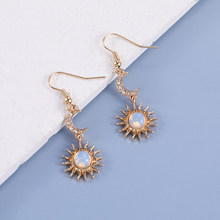 Makersland Sun and Moon Earrings Elegant Korean Drop Earrings Women Fashion Jewelry Accessaries Women Earrings Of Sun And Moon