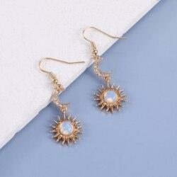 Makersland Sun and Moon Earrings Elegant Korean Drop Earrings Women Fashion Jewelry Accessaries Women Earrings Of Sun And Moon
