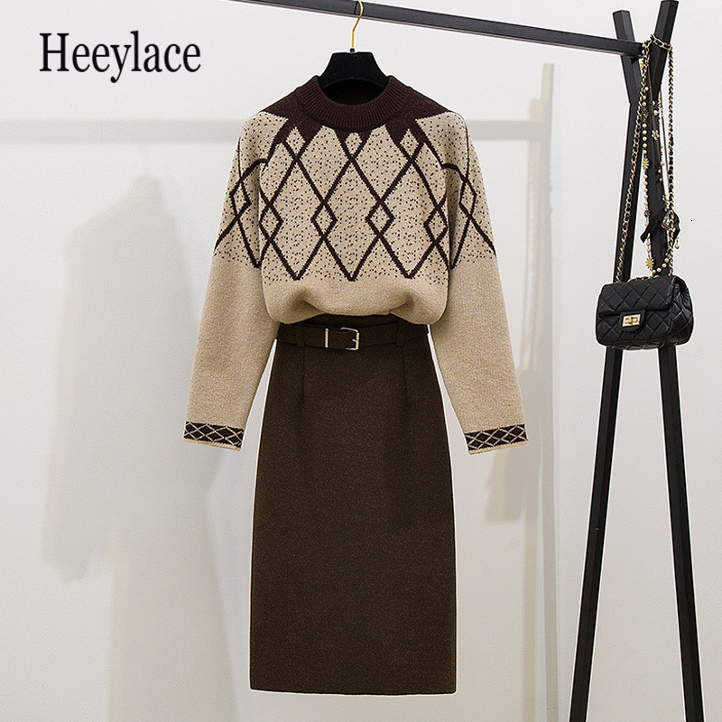 Women Long Sleeves Thick Warm Knitting Sweater + Thicken Autumn Winter Skirts 2 Pcs Sets Female Casual Suits Outfit For Women