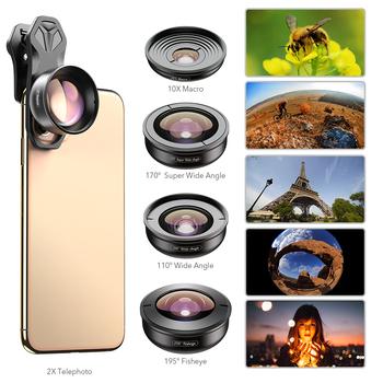 APEXEL 5-in-1 aparat telefoniczny obiektyw 4K 0 6X szerokokątny teleskop Super typu #8222 rybie oko #8221 10X obiektyw makro dla iPhone X 8 7 Xiaomi Samsung s9 s10 tanie i dobre opinie CN (pochodzenie) Obiektyw zoom Canon Kamery 0 5kg APL-HB5-V2 HD 5 in 1 camera lens kit black highest quality optical glass