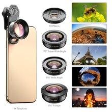 APEXEL lente de cámara de teléfono 5 en 1 telescopio gran angular 4K 0.6X, lente Macro Super ojo de pez 10X para iPhone 7X8 Xiaomi Samsung s9 s10