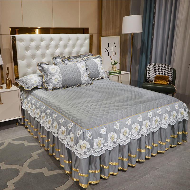 Gray Quilted Lace Flowers Bed Sheet Set Home Mattress Cover Bedspread Cotton Warm Thick Bedding Bed Skirt Pillowcases Queen King