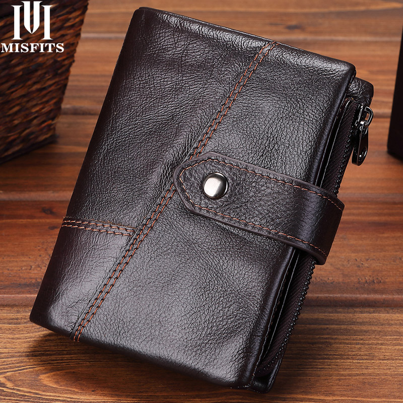 MISFITS Genuine Leather Wallets Men Wallets Clutch Fashion Short Coin Purse Vintage Wallet Cowhide Leather Card Holder Coin Bagwallet cowhidewallet clutchmen wallet clutch -