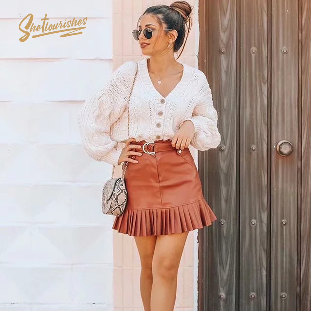 Sheflourishes Womens zora PU Skirts Brown High Waist stylish bodycon Skirts Faldas Streetwear Za Pleated leather Skirts SFA2a image