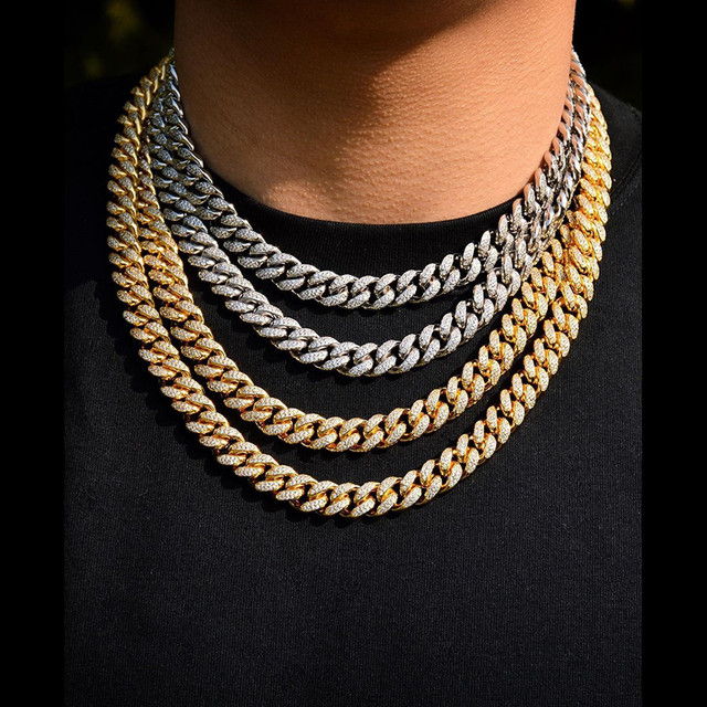 Maimi collier à maillons cubains pour hommes, 14mm, en argent plaqué or glacé, Zircon cubique, colliers à maillons cubains, cadeaux