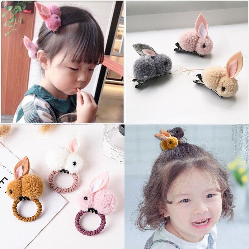 Winter Plush Rabbit Teddy Hair Clips Child Scrunchy Baby Girls Hair Accessories Safe Full-wraped Hairpin Cute Headband Hair Tie