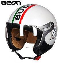 цена на BEON Motorcycle Helmet Motorcycle Scooter 3/4 Open Face halmet Motocross Vintage Casque Moto Casque Casco Motocicleta Capacete