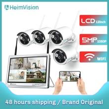 Heimvision hmb43mq 1080p sistema de câmera de segurança sem fio 12 polegada monitor lcd 8ch nvr 4pcs câmera ip visão noturna movimento detectar