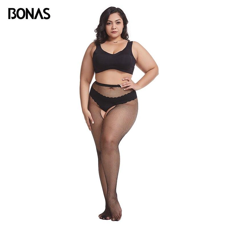 BONAS Women's Tights Sexy Tights Open Crotch Mesh Fishnet Pantyhose Nylon Club Hollow Female Stockings Fashion Nets Transparent(China)