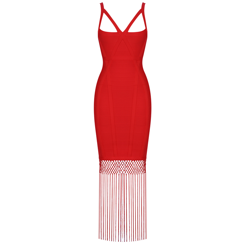 Red Women Bandage Dress