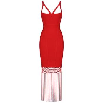 Ocstrade Red Bandage Dress 2020 New Sexy Fringe Tassel Vestidos Bandage Rayon Women Bandage Maxi Dress Celebrity Party Dresses 2