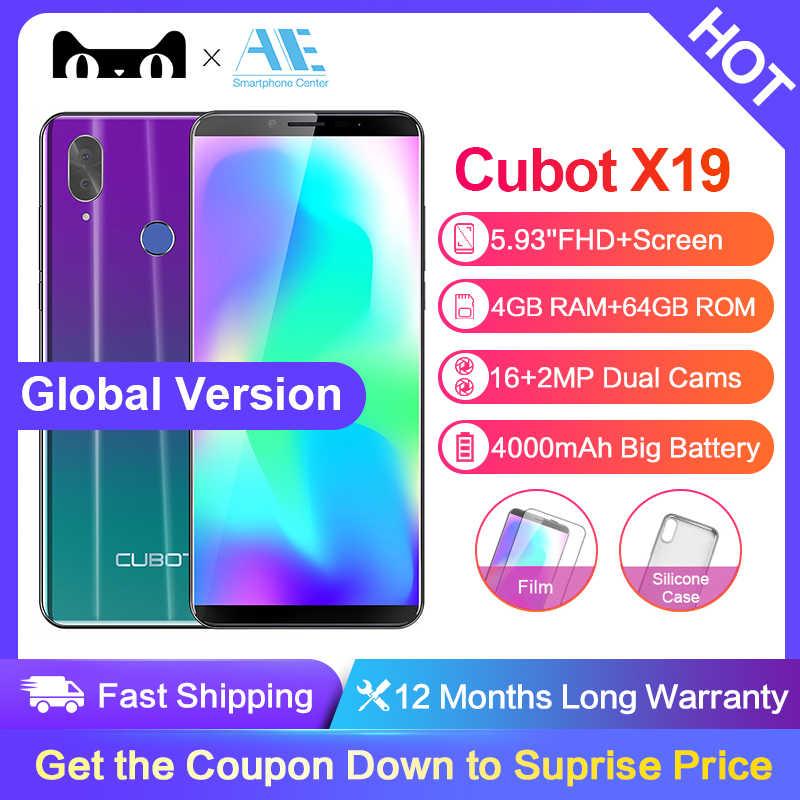 Cubot X19 5.93 pouces Android 8.1 Helio P23 Octa Core téléphone portable 4000mAh 4GB RAM 64GB ROM Smartphone 16.0MP 4G LTE téléphone portable