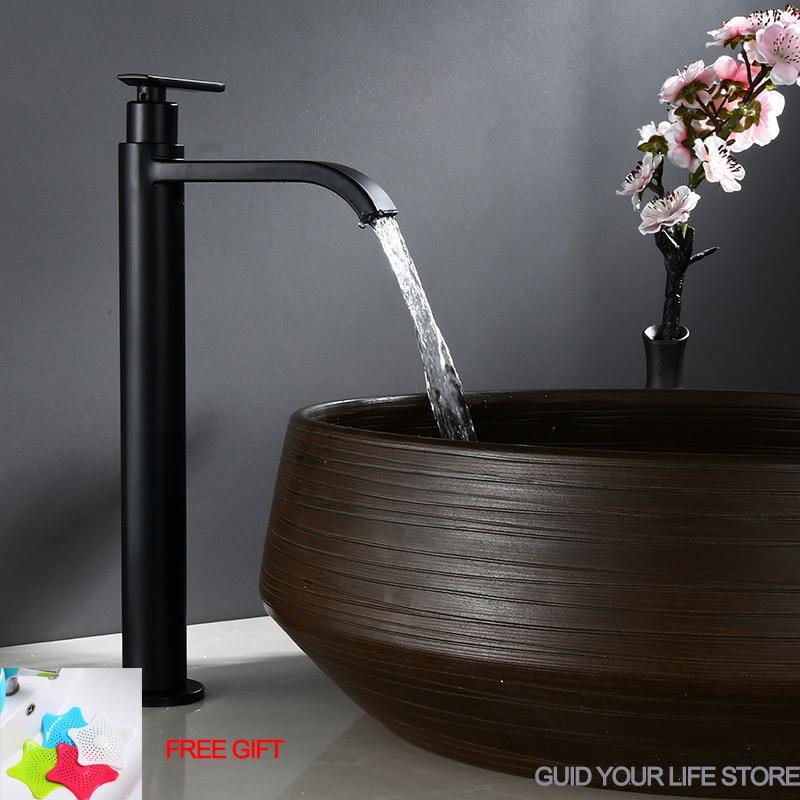 Matte Black Waterfall Tall Basin Faucet Cold Water Tap Torneira Stainless Steel Bathroom Faucet Sink  Washing Tap смеситель