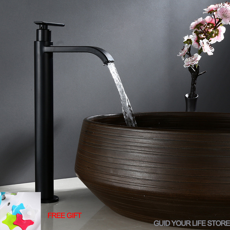 Matte Black Waterfall Tall Basin Faucet Single Cold Water Tap Stainless Steel Bathroom Sink Washing Tap Single Lever Deck Mount