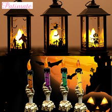 PATIMATE 2019 Halloween Led Candle Lamp Light Decoration Pumpkin Skeleton Hand Party