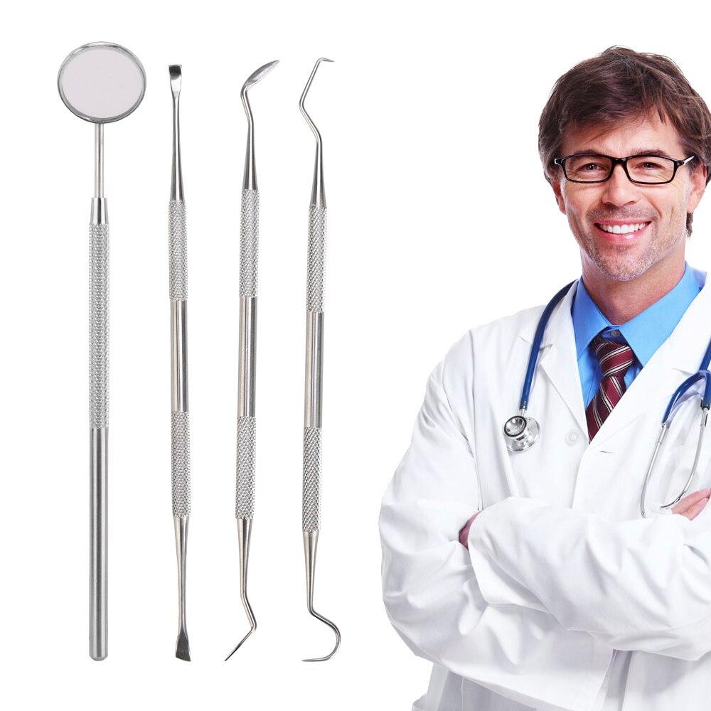 4Pcs Mouth Mirror Dental Kit Tooth Cleaning Kit Probe Hook Pick Tweezer Set Instrument Dental Pick Dentist Prepare Tool