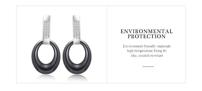 Classic Black White Jewelry Water Drop Earrings