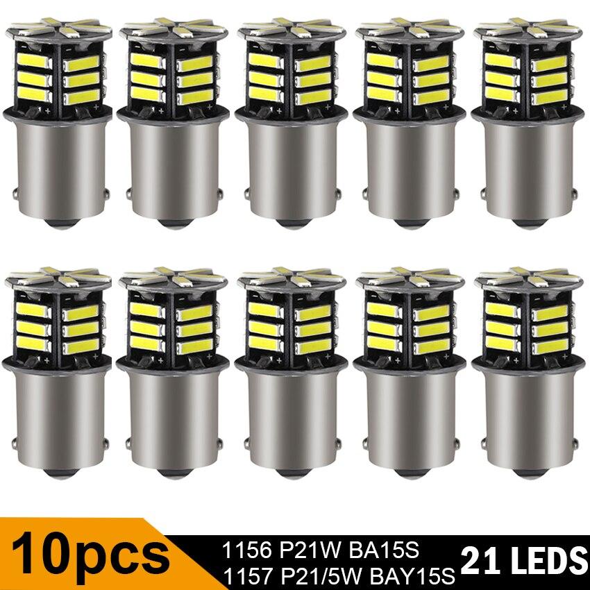10 шт. DRL сигнальная лампа светодиодные лампы Автомобильные противотуманные фары R5W 1157 Bay15d P21w Led R10W 1156 Ba15s сигнал поворота