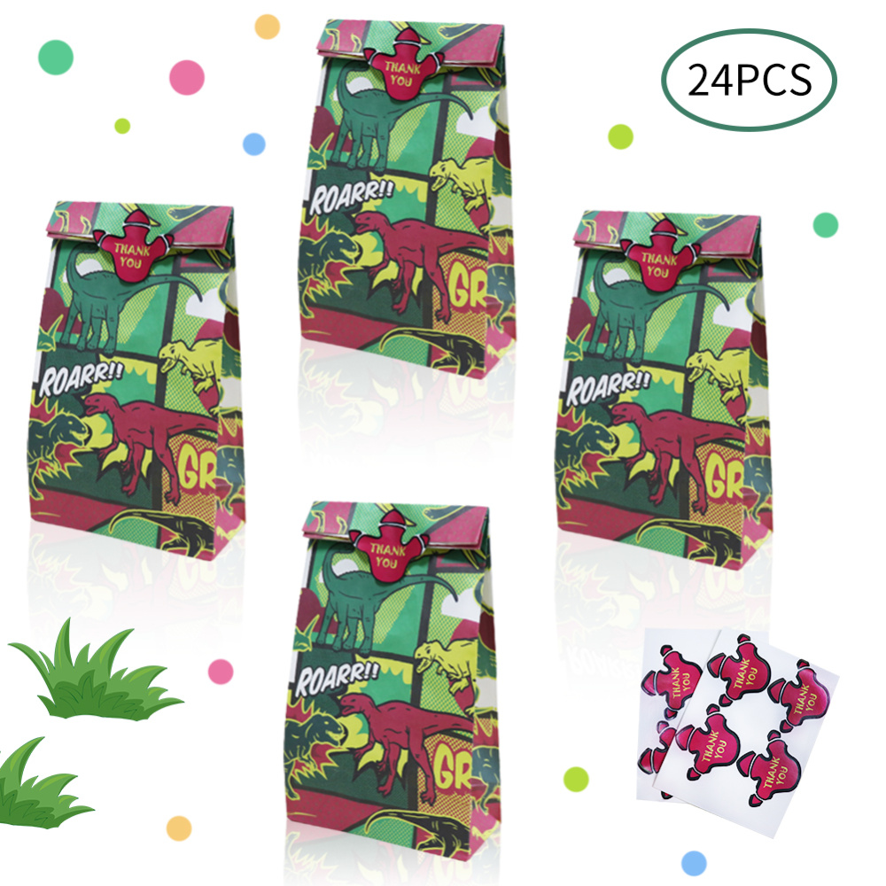 OHEART 24pcs St Patrick's Day Dinosaur Party Bags Candy Treat Box Kid Favor Gift Bags Animals Birthday Party Event Decoration