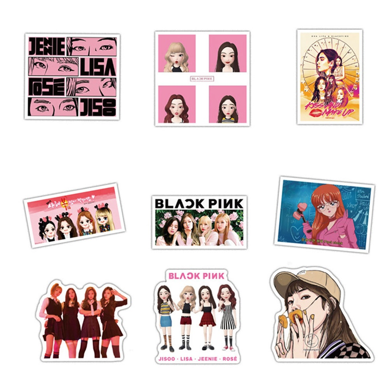 54pcs/set Hot Sale Blackpink Luggage Notebook Cartoon Kawaii Stickers DIY Album Scrapbooking Student Kids Fans Gift image