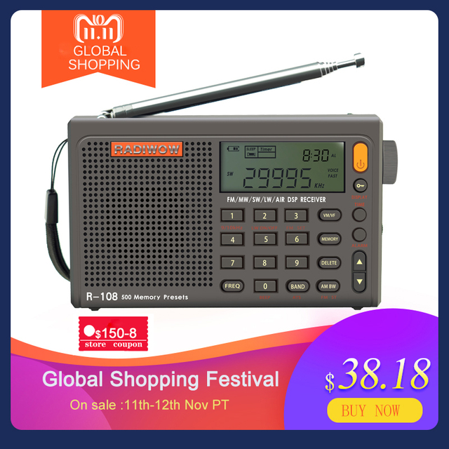 Radiwow SIHUADON R 108 FM Stereo Digital Portable Radio Sound Alarm Function Display Clock Temperature Speaker as Parent gift