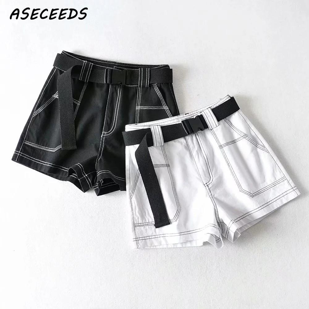 2020 Fashion Black Cargo Shorts Women Elastic High Waist Shorts For Women Belt Biker Shorts Vintage Cotton Sexy Shorts Feminino