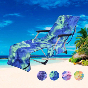 Soft Microfiber Tie-dye Beach Chair Cover Sweat-absorbent Bath Pockets Towel