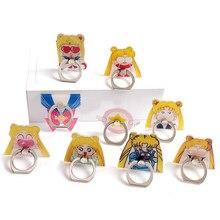 Figuras de cristal de Luna de Sailor, 1 Uds., anillos de Metal de 360 grados, soporte para teléfono móvil con diseño de gato negro y Luna
